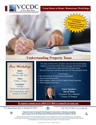 Property Tax Workshop Hosted by VCCDC with Guest Speaker Steven Hintz set for Feb.18