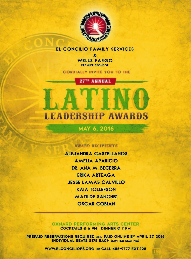 El Concilio Family Services announces winners of Latino Leadership Awards. Event to be held May 6