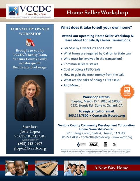 VCCDC Hosts Free 'For Sale By Owner' Workshop for Home Sellers on March 15