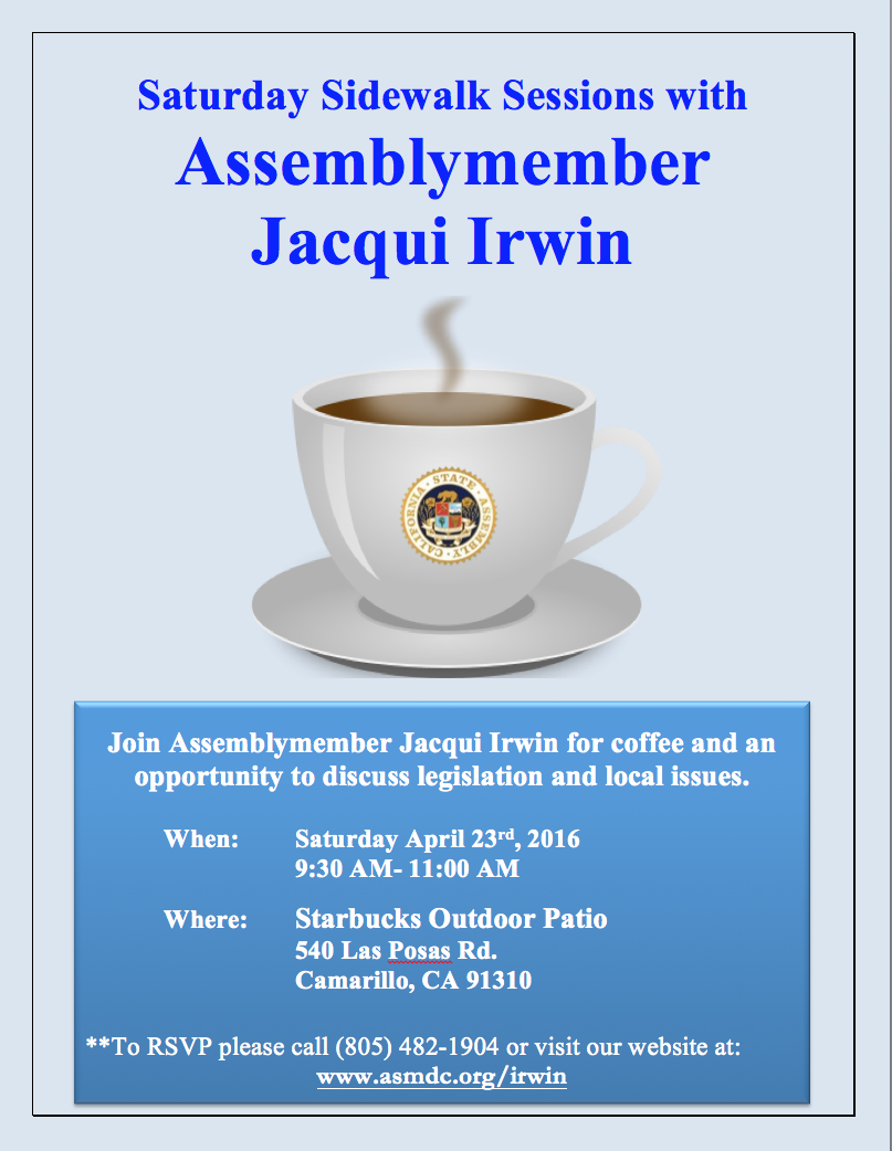Next 'Saturday Sidewalk Session with Assemblymember Jacqui Irwin' to be held in Camarillo on April 23