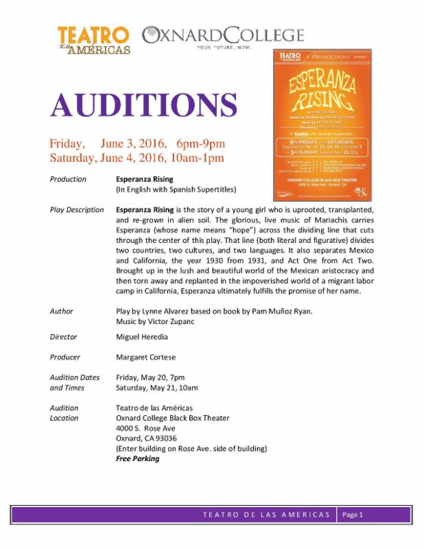 Bilingual report: Auditions for 'Esperanza Rising' to be held June 3, 4