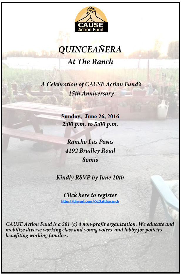 CAUSE Action Fund to present 'Quinceañera AT The Ranch' at Rancho Las Posas, Somis on June 26