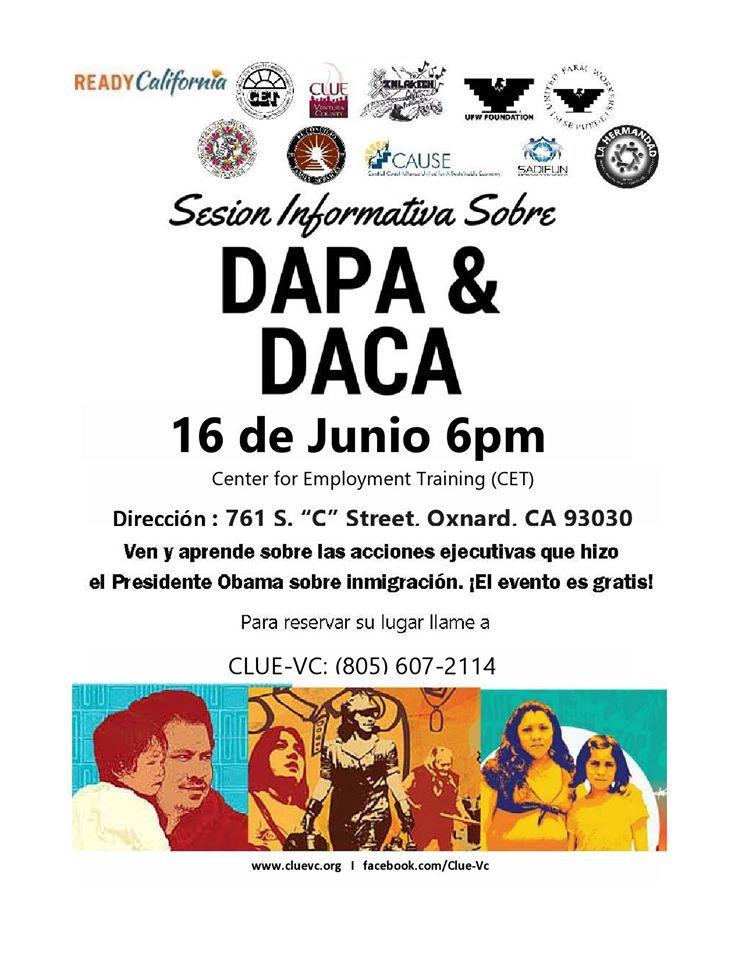 Sesion Informativa Sobre DAPA y DACA el 16 de Junio en Oxnard