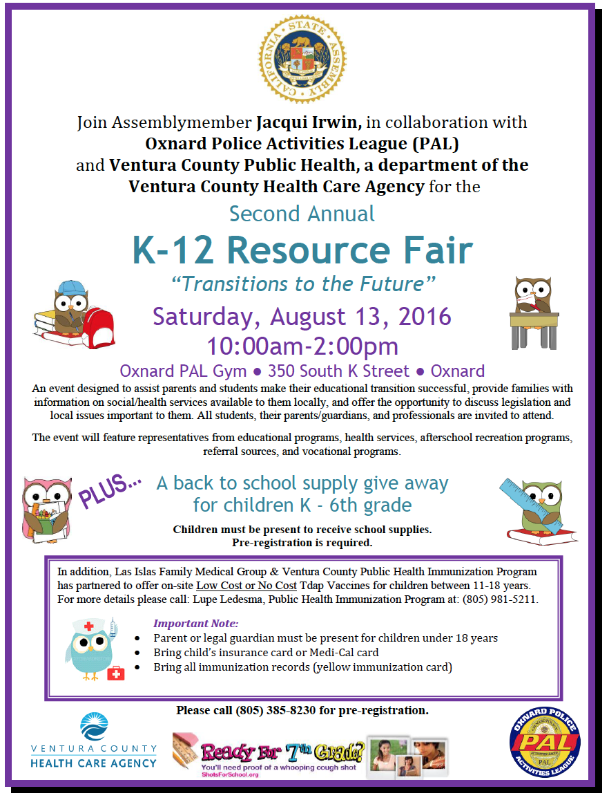 Bilingual report: Second Annual K-12 Resource Fair to be held in Oxnard on Aug. 13