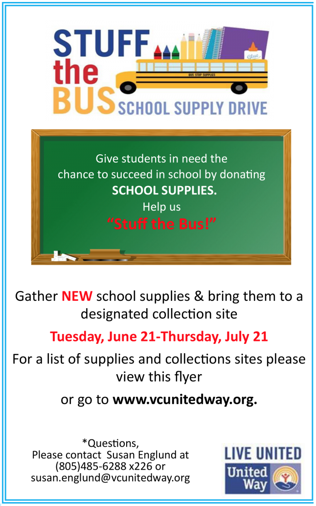 United Way of Ventura County: Stuff the Bus School Supply Drive continues through July 21
