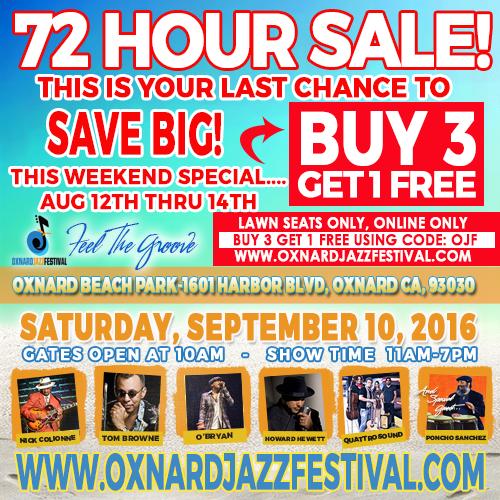 It's Back! — Oxnard Jazz Festival announces 72 Hour Sale for Sept. 10 event