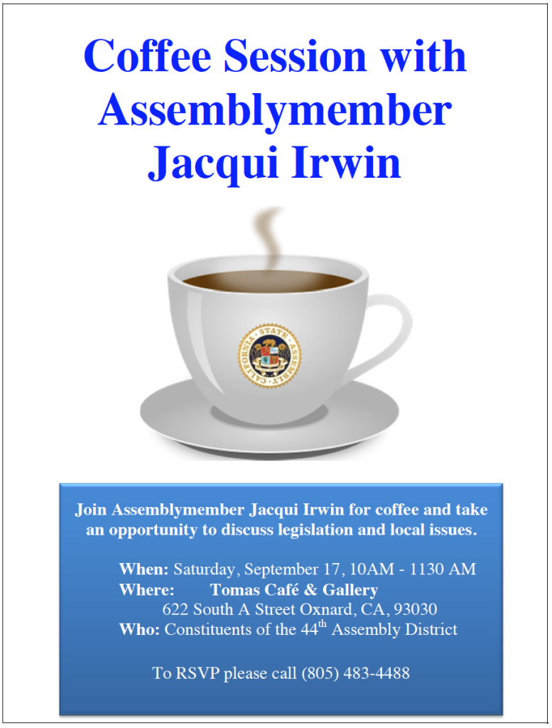 Coffee Session with Assemblymember Jacqui Irwin on Sept. 17 in Oxnard