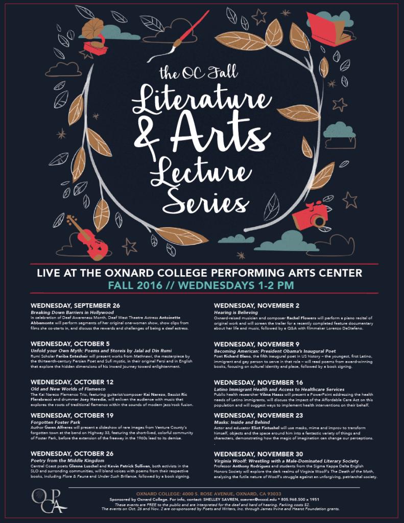 Oxnard College Literature, Arts & Lecture Series Fall 2016 continues through Nov. 30
