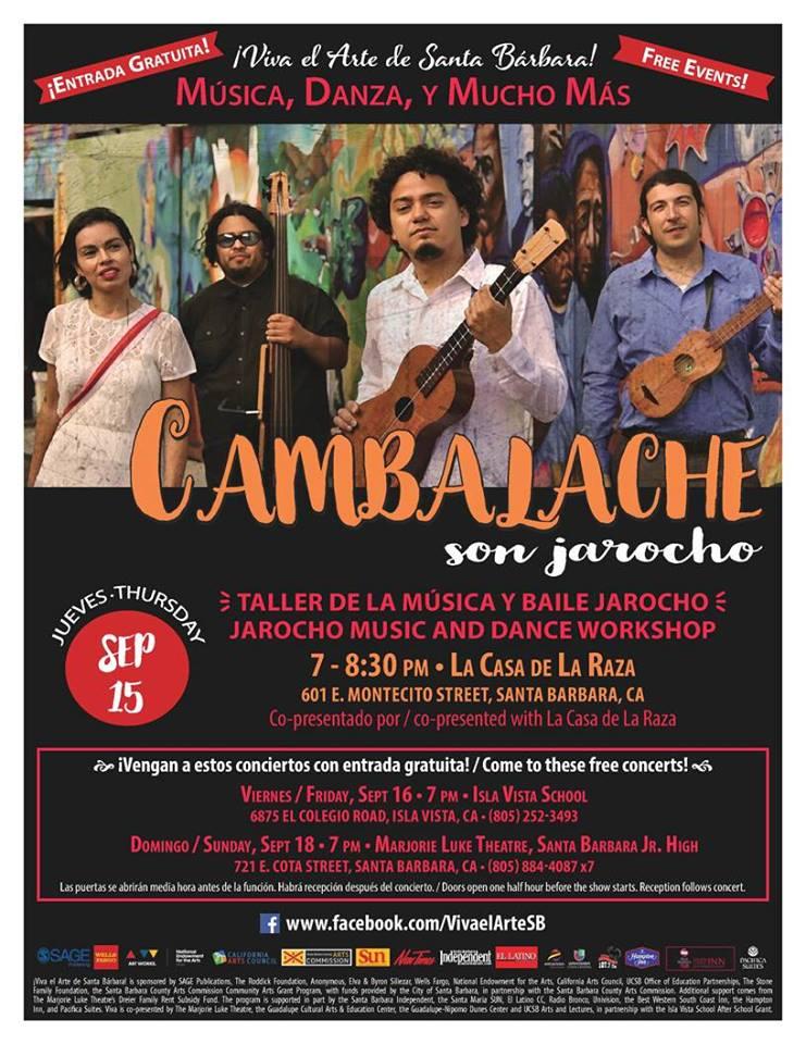Free Community Jarocho Workshop with Cambalache presented by ¡Viva el Arte de Santa Bárbara! on Sept. 15
