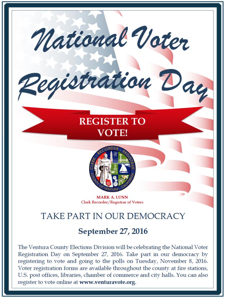National Voter Registration Day is Sept. 27