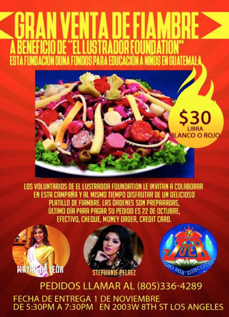Day of the dead Guatemalan celebration Fundraiser for El Lustrador Foundation to be held in Los Angeles on Nov. 1