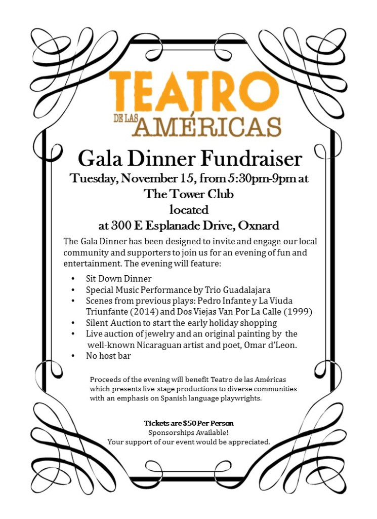 Bilingual report: Teatro de las Américas to present Gala Dinner Fundraiser on Nov. 15