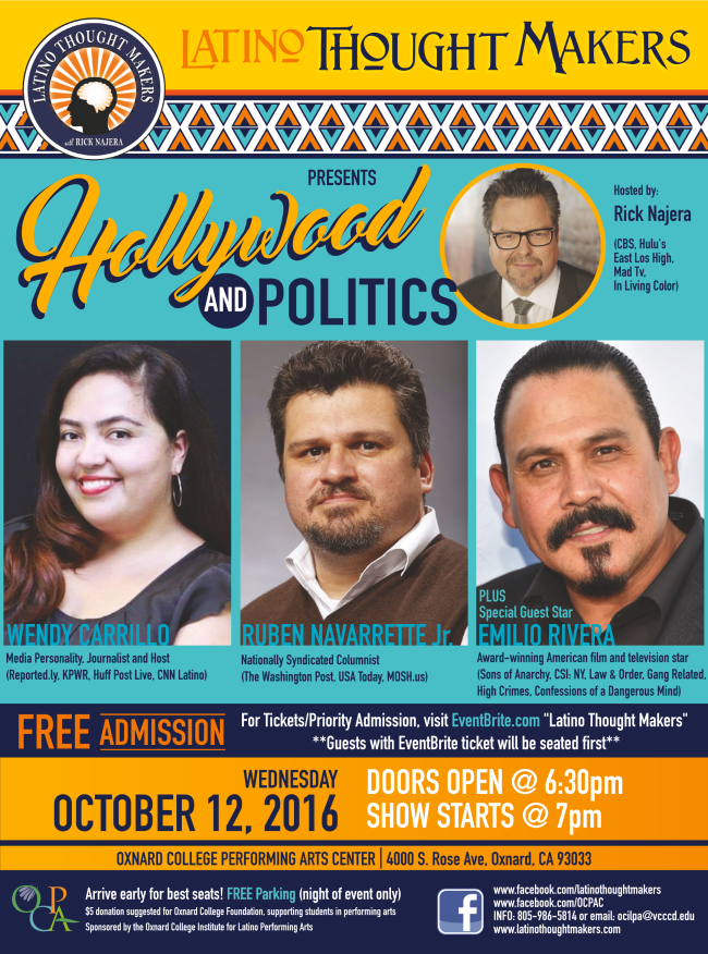 Latino Thought Makers Series to present 'Hollywood and Politics' at Oxnard College on Oct. 12
