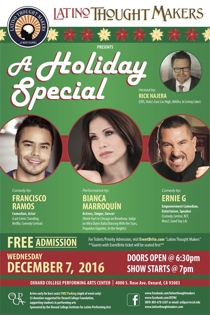 Rick Najera's Latino Thought Makers Holiday Special Comes to Oxnard College, Dec. 7