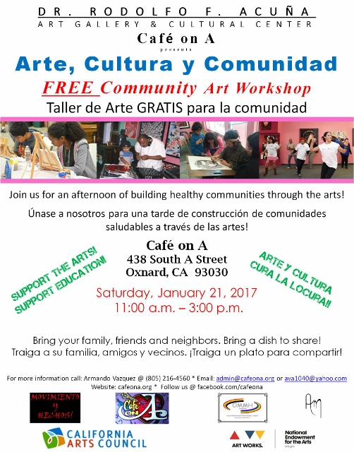 Jan. 21 — Acuña Art Gallery and Cultural Center/ Cafe on A to hold free community art workshop