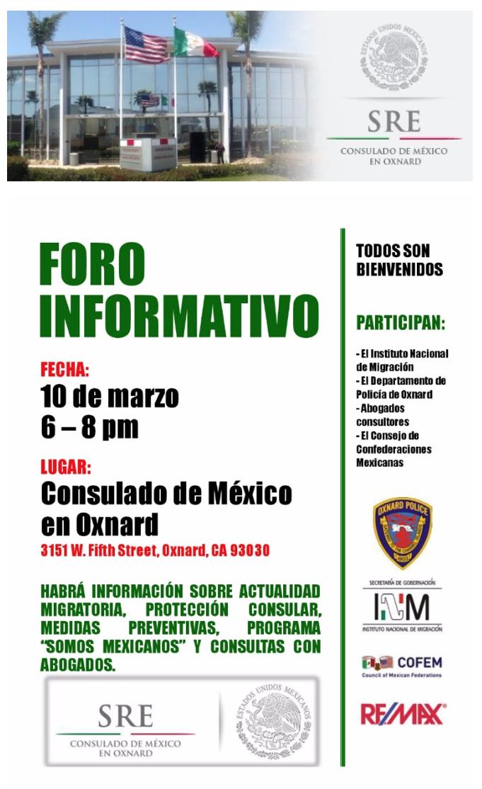 10 de marzo — Consulado de México en Oxnard: Foro Informativo