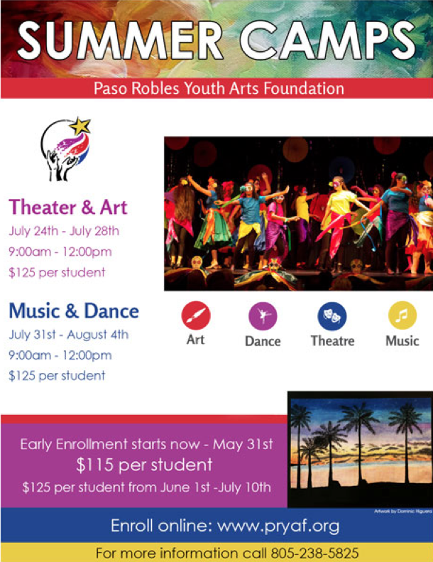 Bilingual report: July 24 through Aug. 4 — Paso Robles Youth Arts Foundations presents Summer Camps