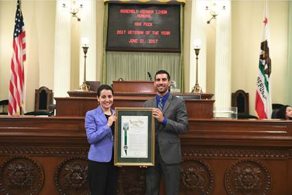 Limón Honors UCSB Student Max Peck as Veteran of the Year