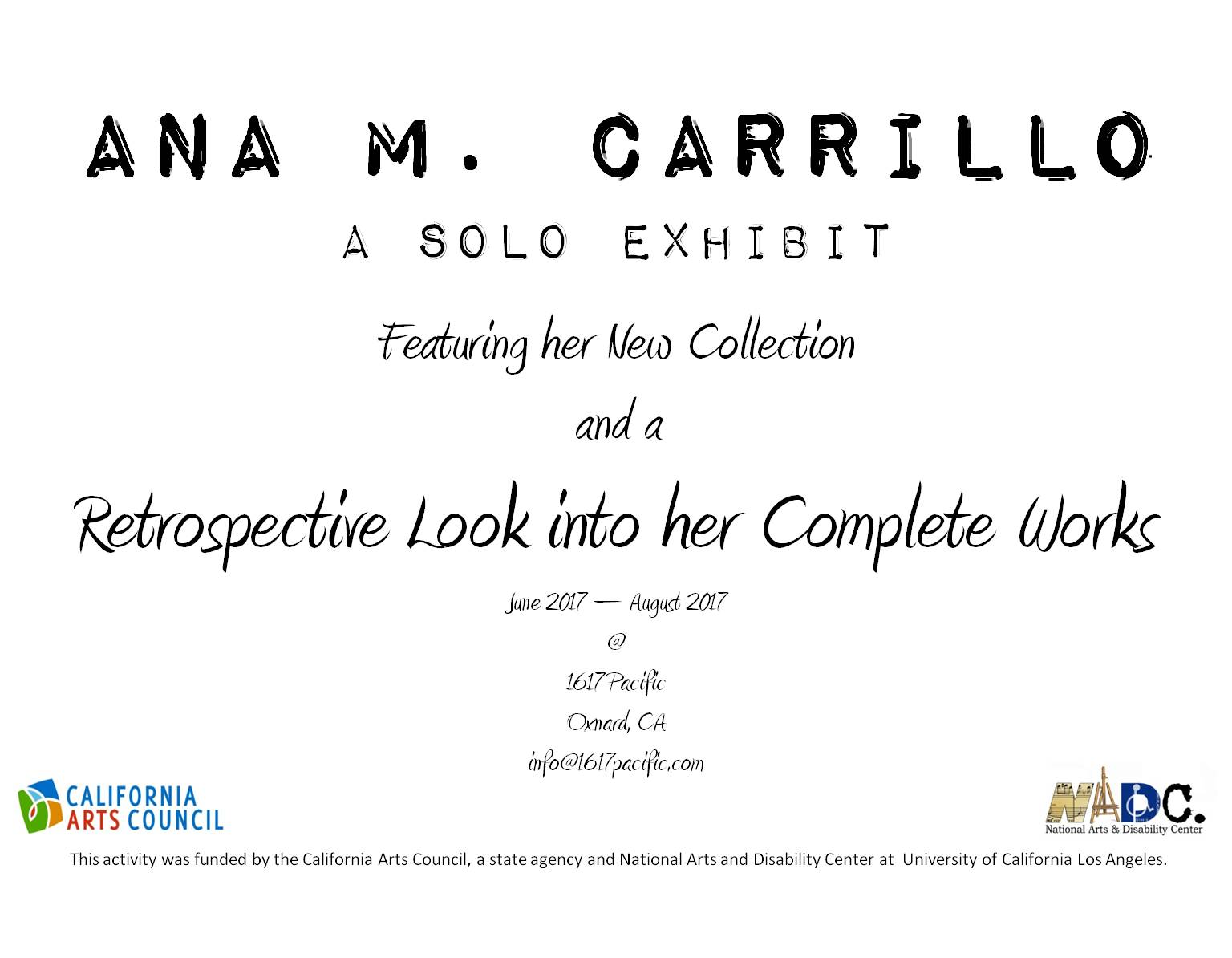 Through August — 1617 Pacific art studio in Oxnard presents 'Ana M. Carrillo: A Solo Exhibit'
