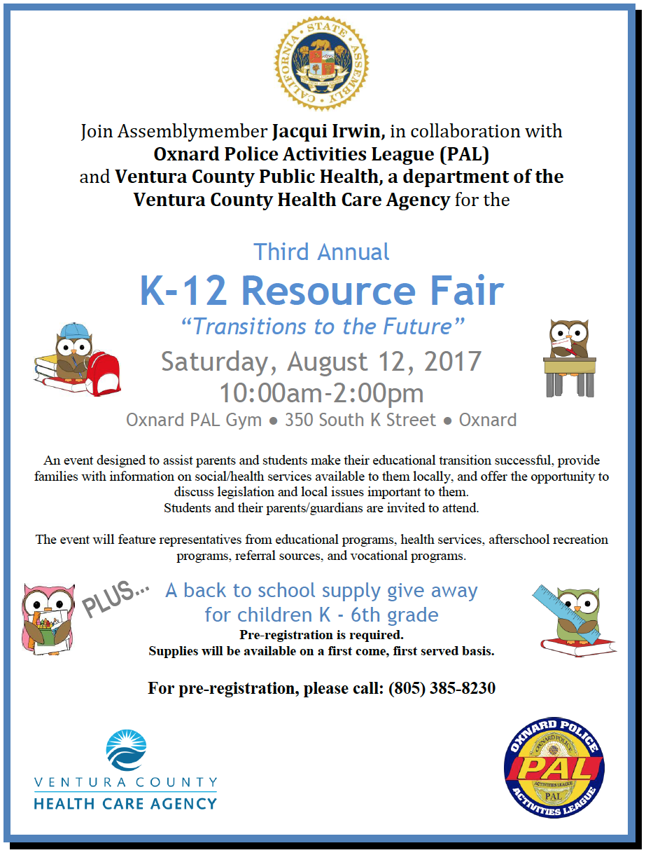 Aug. 12 — Bilingual report: Third Annual K-12 Resource Fair to be held at Oxnard PAL Gym