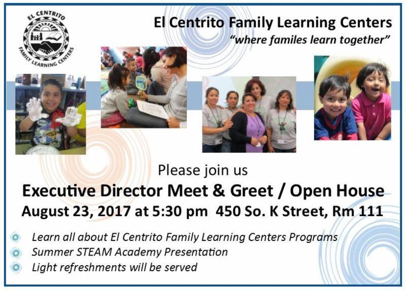Aug. 23 — El Centrito Family Learning Centers to hold Executive Director Meet & Greet / Open House