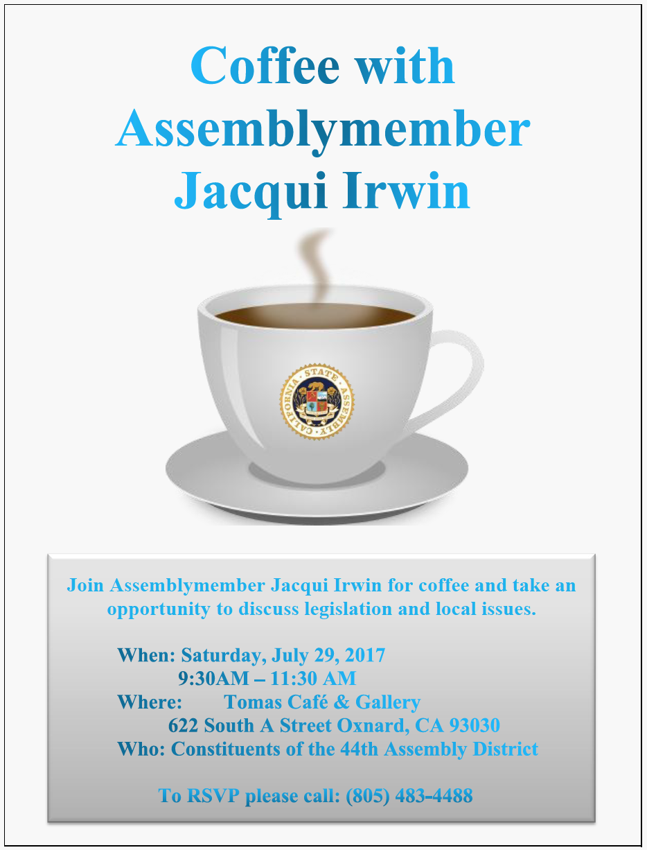 July 29 — Bilingual report: Coffee with Assemblymember Jacqui Irwin