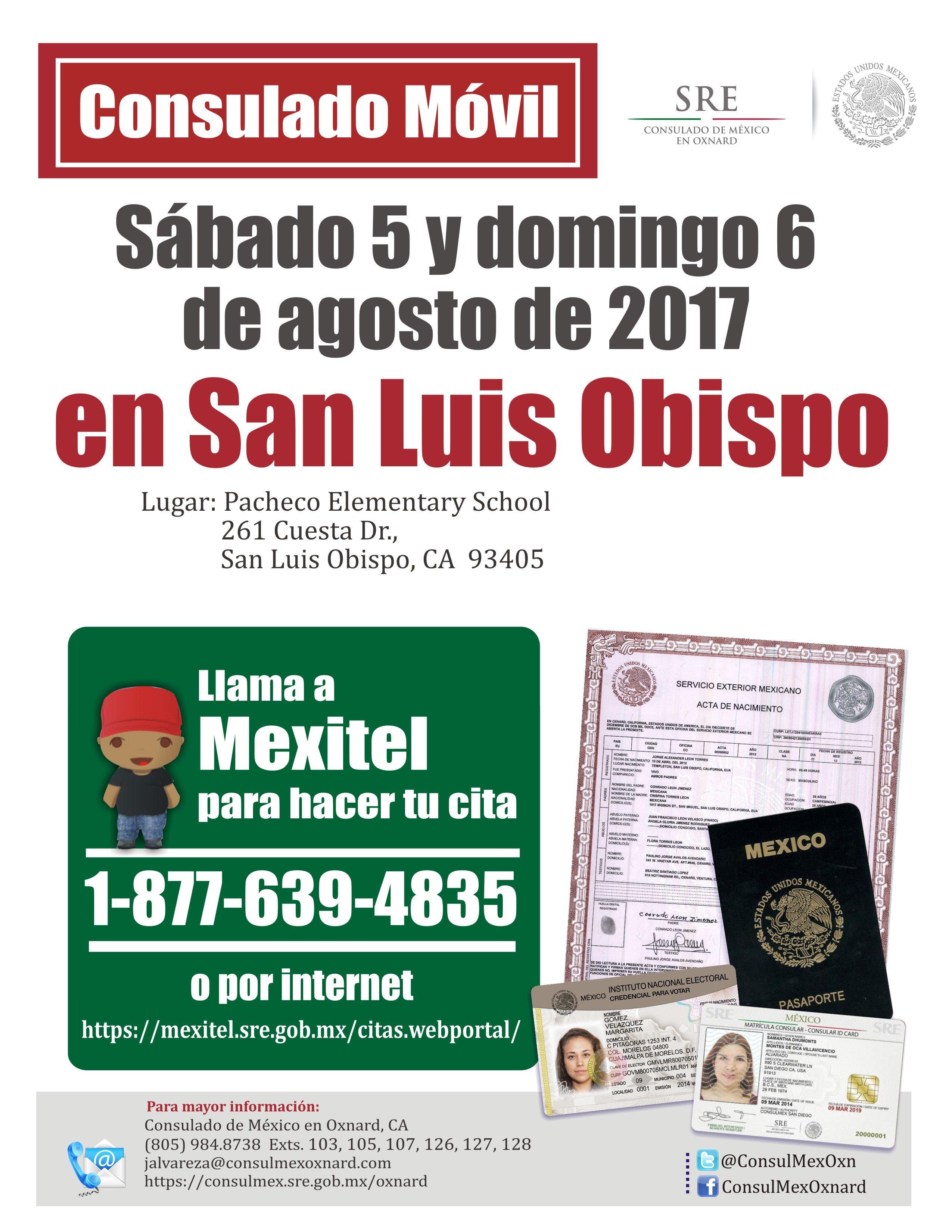 5 y 6 de agosto — Consulado Móvil in San Luis Obispo | Amigos805.com