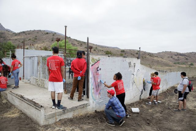 CSUCI students team up with Oxnard Police Department, Ventura County and other volunteers to paint over graffiti