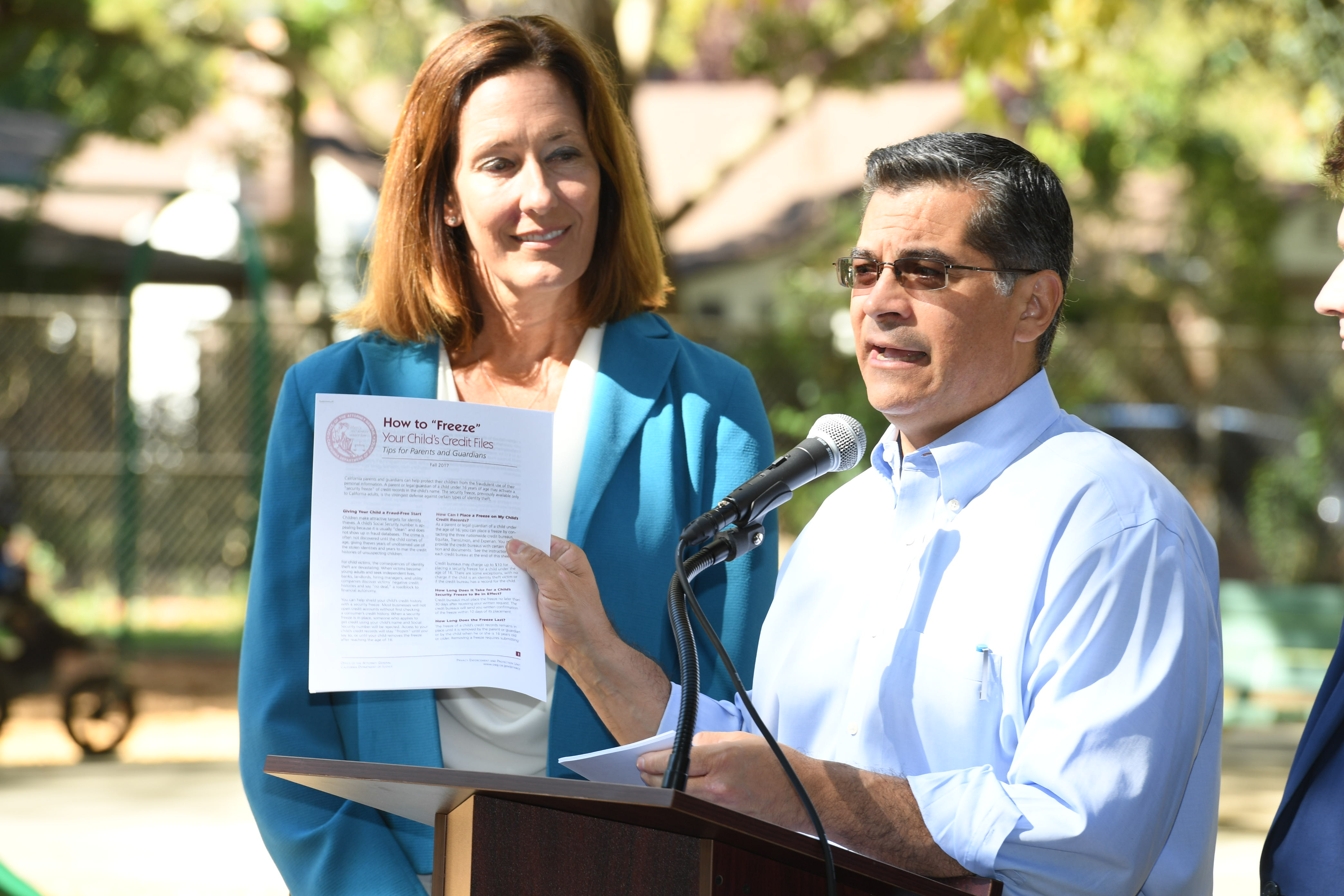 Assemblymember Jacqui Irwin, Attorney General Xavier Becerra provide