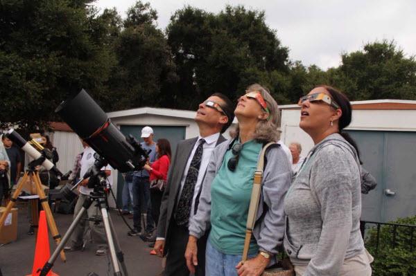 Local stargazers view the solar eclipse at Santa Barbara Museum of Natural History