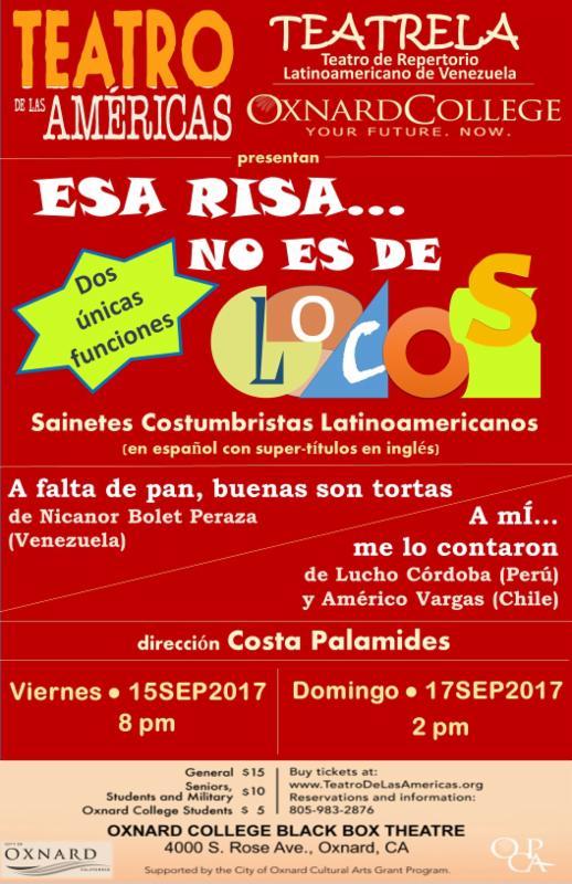 Sept. 15, 17 — Teatro de las Américas: 'Esa Risa No Es De Locos'