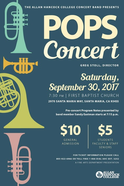 Sept. 30 — Allan Hancock College Concert Band to perform Fall Pops Concert