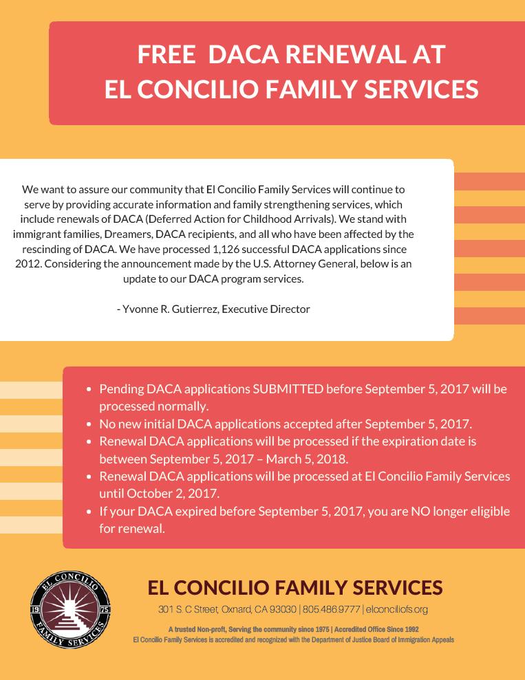 Free DACA Renewal at El Concilio Family Services in Oxnard