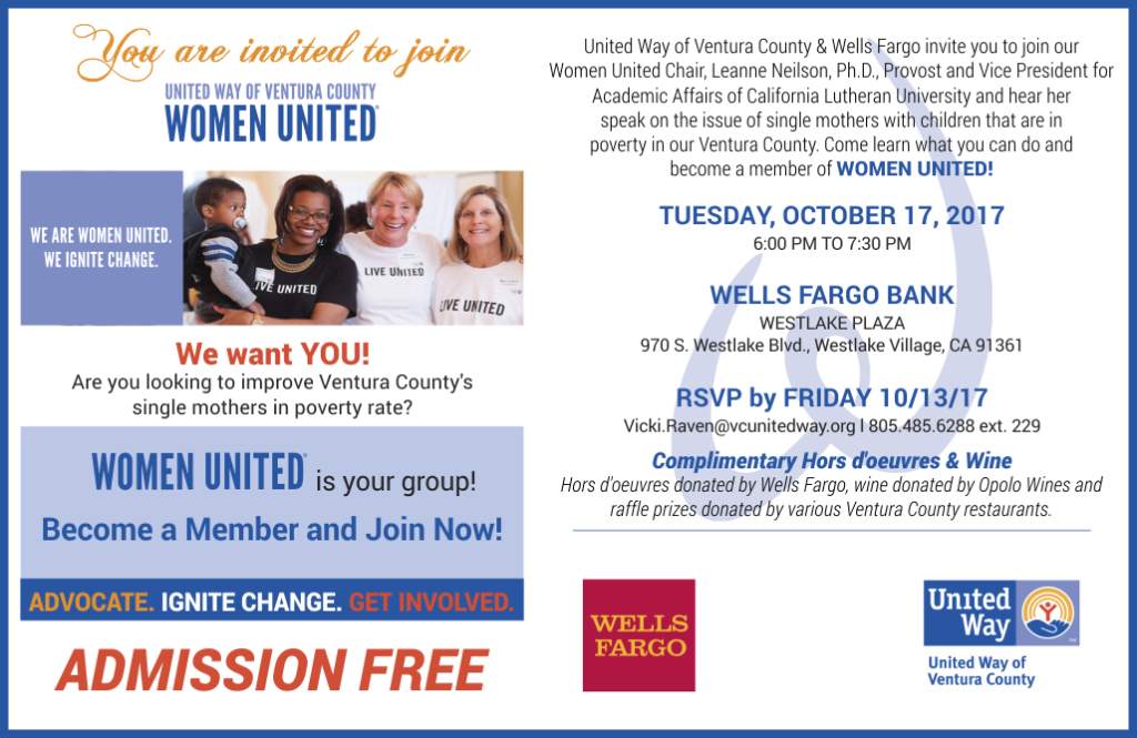 Oct. 17 — United Way's Women's United to Host Community Event Focusing on the Plight of Single Mothers Living in Poverty