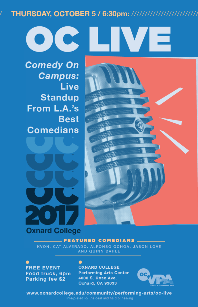 Oct. 5 — OC LIVE to present 'Comedy on Campus: Standup from L.A.'s Best Comedians