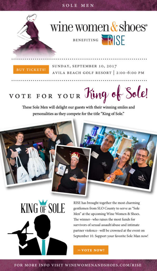 Men fundraising for Wine Women & Shoes benefiting RISE