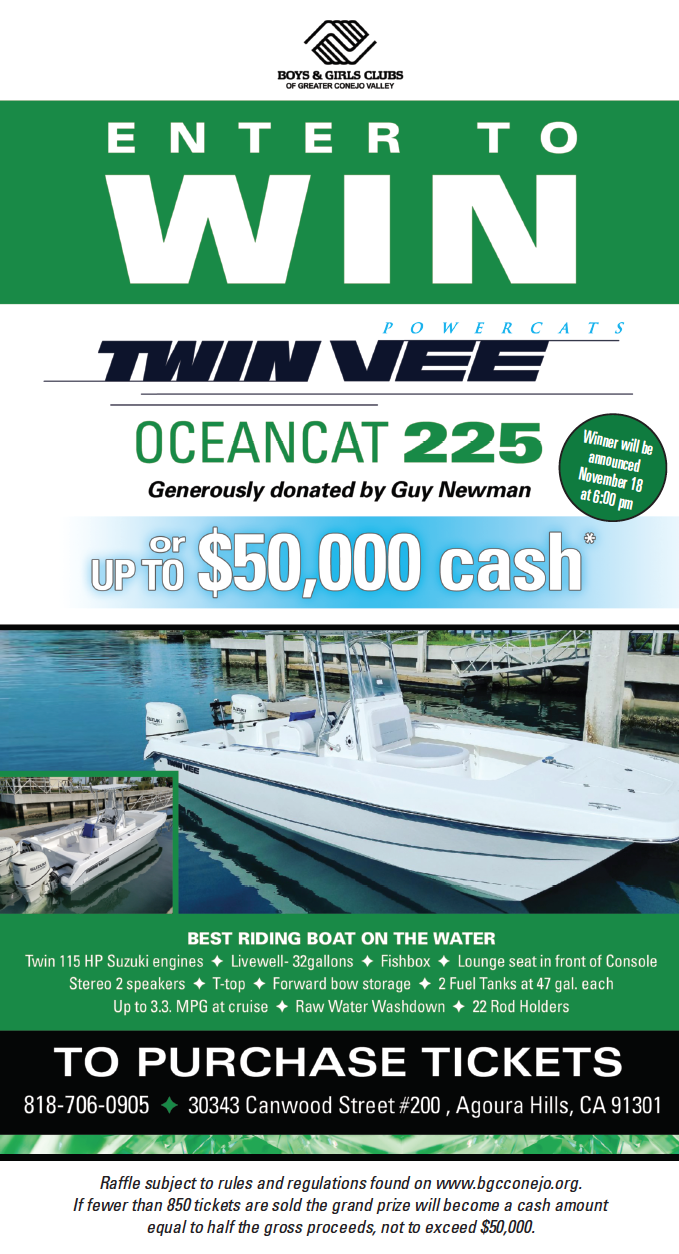 Boys & Girls Clubs of Greater Conejo Valley offer Chance to Win Twin Vee OceanCat on Nov. 18