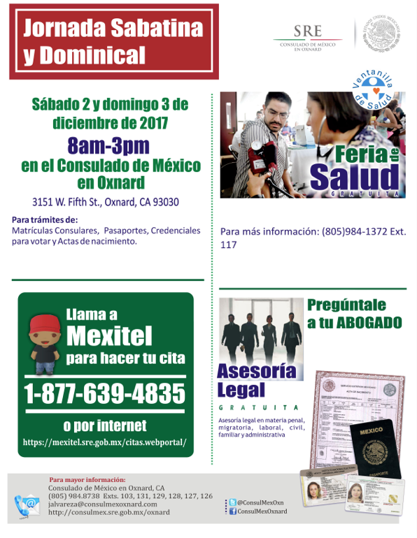 2 y 3 de diciembre — Jornada Sabatina y Dominical en Oxnard