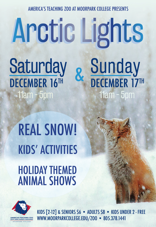 """Dec. 16-17 — Winter Brings Snow and """"Arctic Lights"""" to America's Teaching Zoo at Moorpark College"""