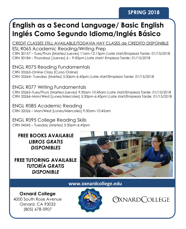Bilingual report: Spring 2018 registration continue at Oxnard College for English as a Second Language classes
