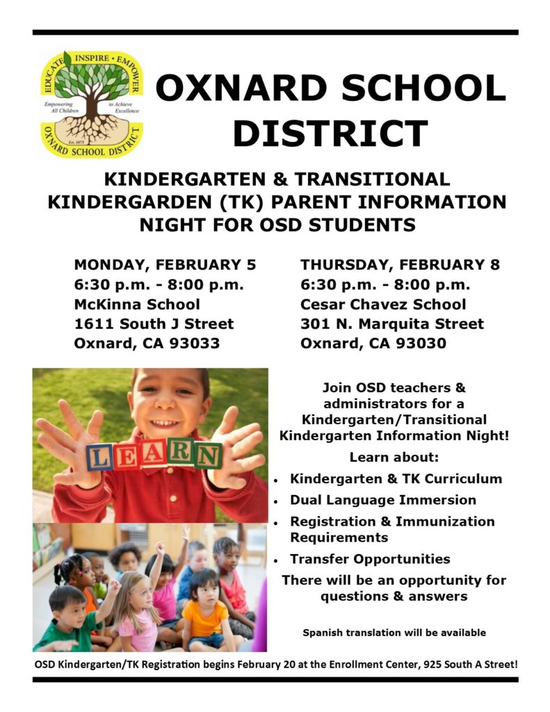 Bilingual report — Feb. 8 — Oxnard School District to present 'Kindergarten & Transitional Kindergarten Parent information Night'