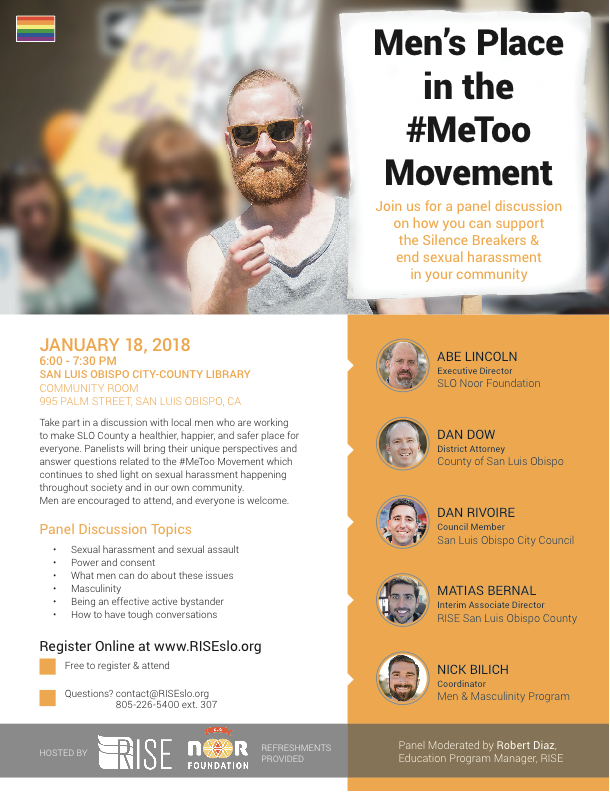 Jan. 18 — Panel of local men to discuss #MeToo & sexual harassment in SLO County