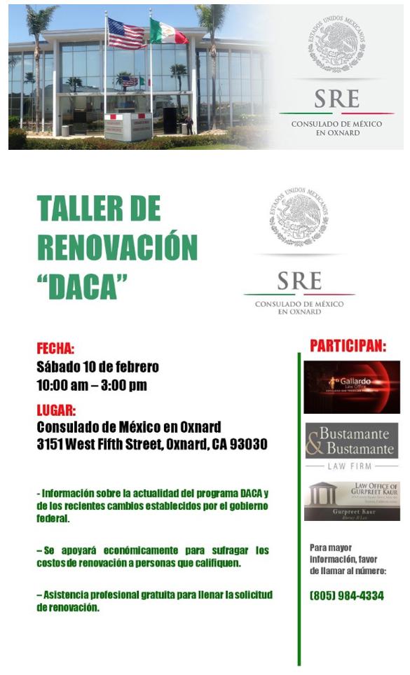 10 de febrero — Taller de renovación DACA
