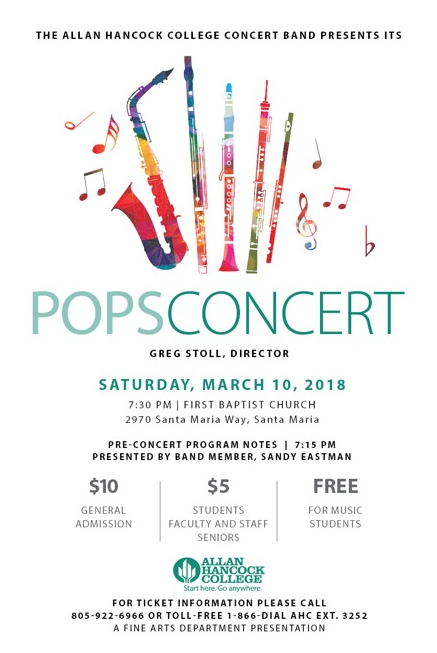 March 10 — Allan Hancock Concert Band to perform Pops Concert in Santa Maria