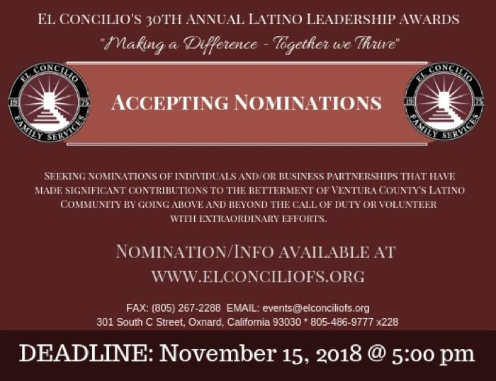 Nominations for El Concilio's Latino Leadership Award are due by Nov. 15