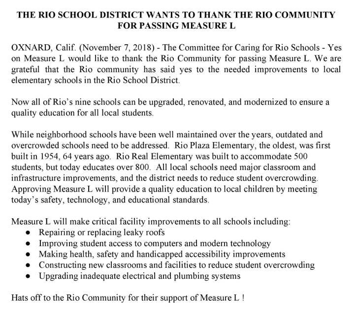Rio School District in Oxnard wants to thank the Rio community for passing Measure L