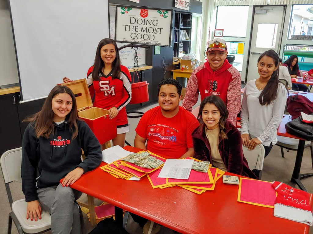 Santa Maria High School ASB students ring bells for Salvation Army's 'Kettle Drive'
