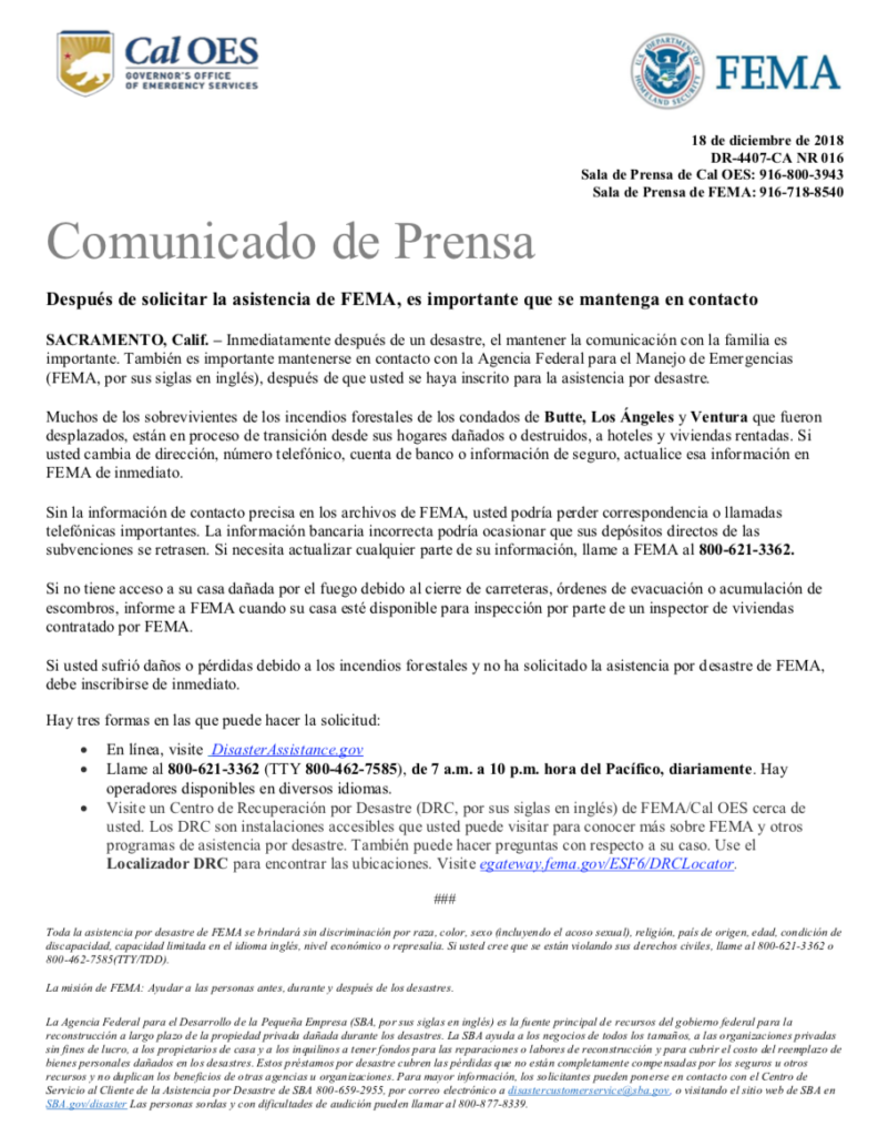 Bilingual report: After Applying for FEMA Assistance, it's Important to Keep in Touch