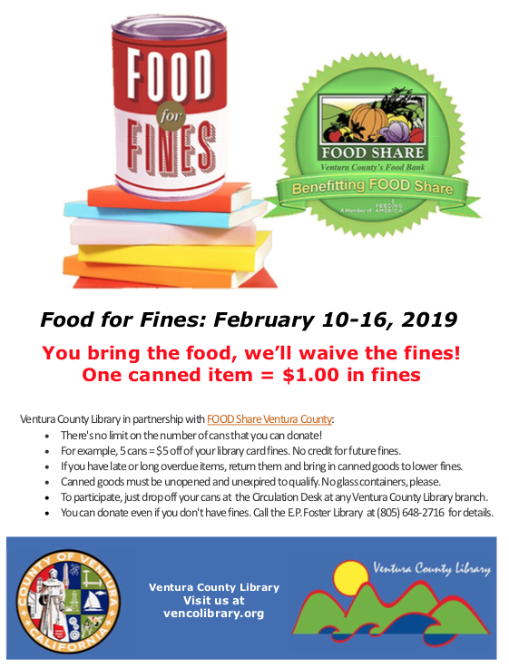 Bilingual report: Feb. 10-16 — Food for Fines week at Ventura County Library