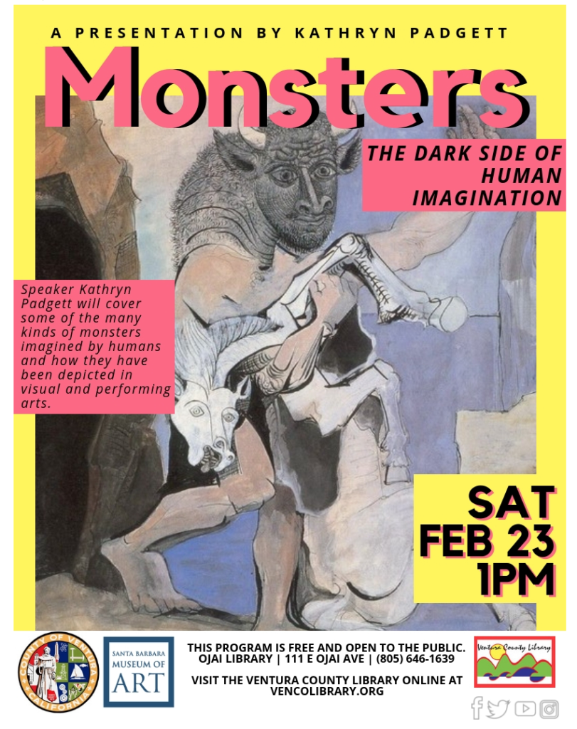 Feb. 23 — Ojai Library to present 'Monsters: The Dark Side of Human Imagination – A presentation by Kathryn Padgett'